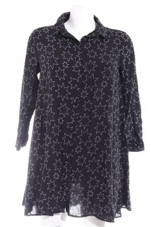Zara Langarmhemd schwarz-weiß Sternenmuster Casual-Look
