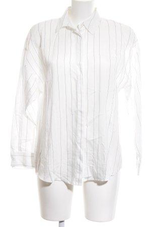 Zara Langarmhemd weiß-schwarz Nadelstreifen Business-Look