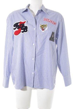 Zara Chemise à manches longues blanc-bleu acier motif rayé style décontracté