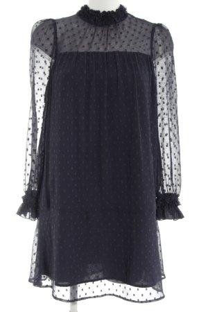 Zara Vestido de manga larga azul estampado a lunares elegante