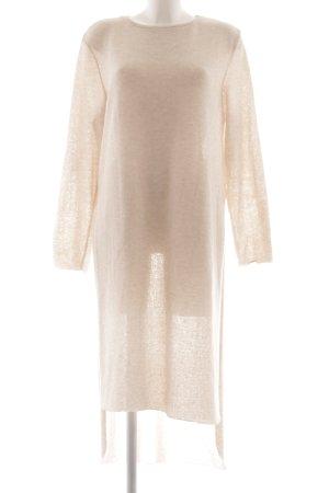 Zara Vestido de manga larga beige-crema look casual