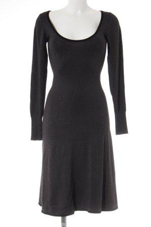 Zara Langarmkleid grau-schwarz Streifenmuster Casual-Look