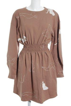 Zara Robe à manches longues marron clair imprimé avec thème