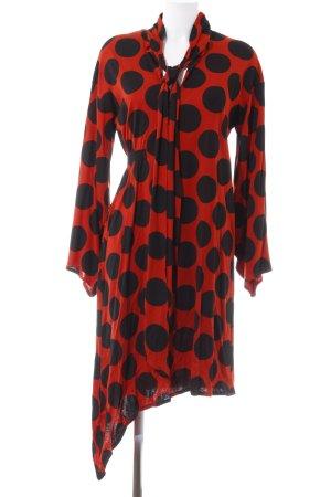 Zara Langarmkleid rot-schwarz Punktemuster Casual-Look
