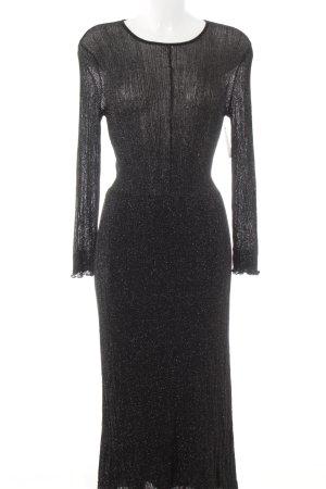 Zara Robe à manches longues noir-argenté élégant