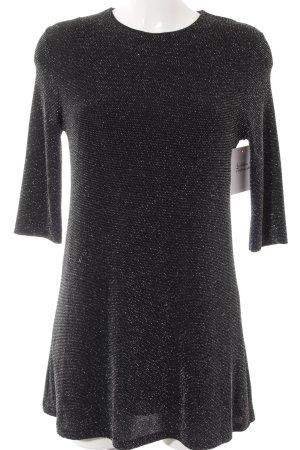 Zara Langarmkleid schwarz-silberfarben Elegant