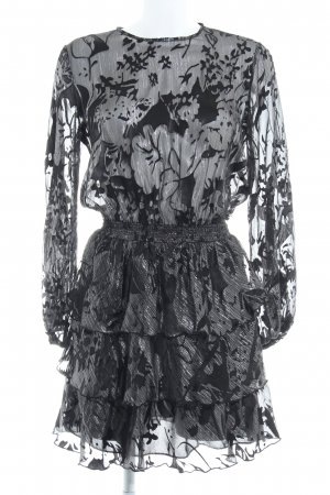 Zara Langarmkleid schwarz-silberfarben florales Muster 80ies-Stil