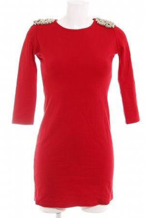 Zara Langarmkleid silberfarben-rot Casual-Look
