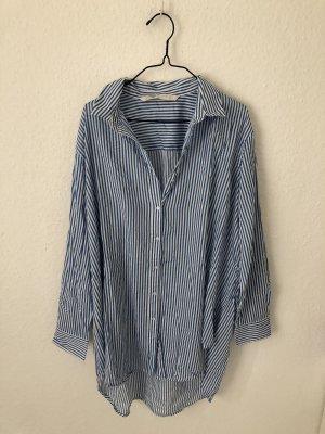 Zara Lange blouse wit-blauw