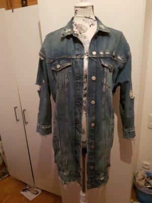 zara lange jeans Jacke jeansjacke mit Aufschrift M ausverkauft