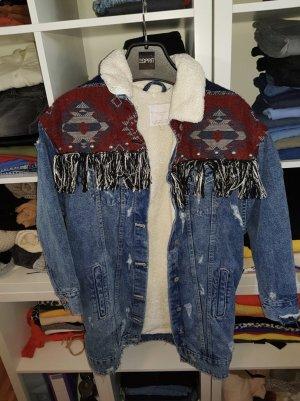 Zara Lange ripped jeansjacke gefüttert hippie look India look
