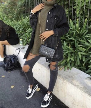 Zara lange Rippen jeansjacke schwarz oversize M Musthave Blogger