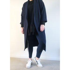 Zara langer oversize Strick Mantel M L 38 40 42 dunkelblau Blogger Strickjacke Jacke