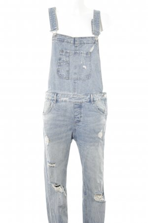 Zara Dungarees light blue distressed style