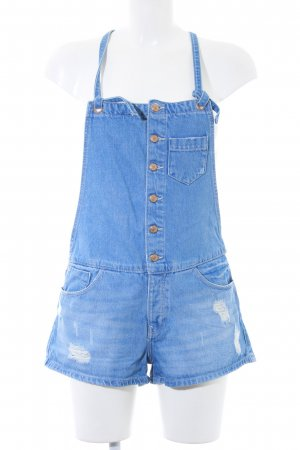Zara Dungarees neon blue-white casual look