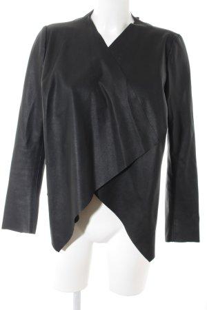 Zara Leren blazer zwart Biker-look