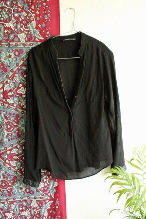 Zara Leder Bluse / Schwarze Basic Bluse