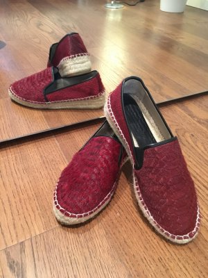 Zara Leder Espadrilles Espandrilles Schuhe 37 Echtfell