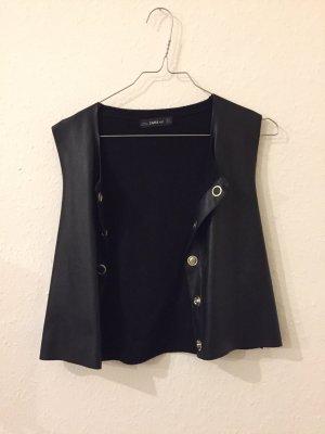 Zara Gilet en cuir noir-argenté