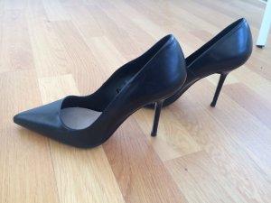 Zara  Leder High Heels in schwarz
