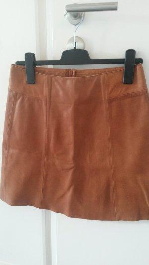 Zara Falda de cuero marrón claro-camel