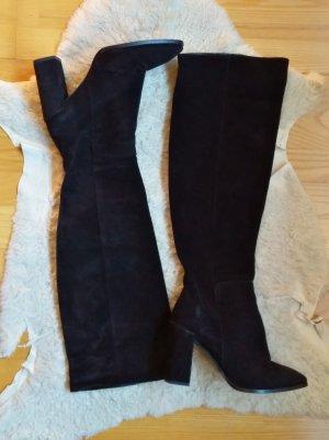 Zara Botas sobre la rodilla negro Cuero