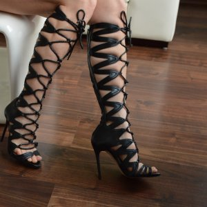 Zara Leder Stiefel High Heels Römer Sandaletten