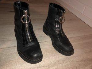 Zara Leder Stiefel mit Reißverschluss