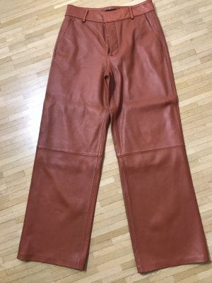 Zara Leather Trousers cognac-coloured