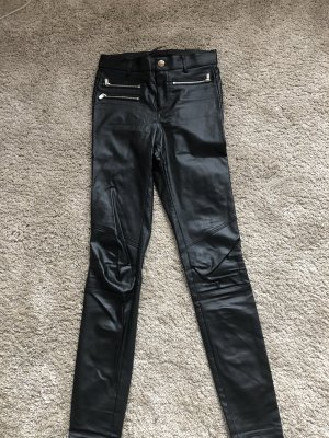 Zara Trafaluc Leather Trousers black-silver-colored