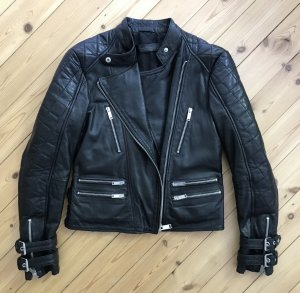 Zara Veste en cuir noir-argenté cuir