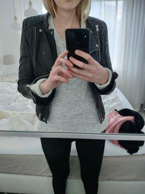 Zara Veste en cuir noir-argenté