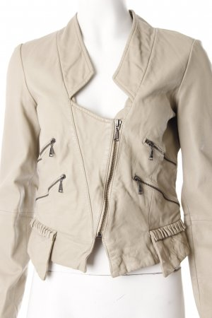 Zara leather jacket light beige