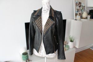 Zara Woman Leather Jacket black-gold-colored leather