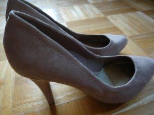 Zara Lederpumps hellgrau/taupefarben Higheel 10 cm
