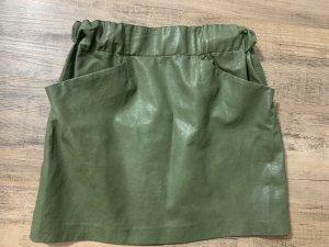Zara Faux Leather Skirt green grey imitation leather