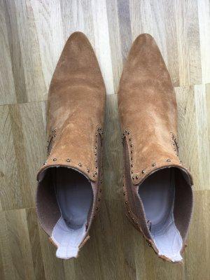 ZARA Lederstiefelette Gr. 37 Braun Cognac Wildleder Boots Nieten