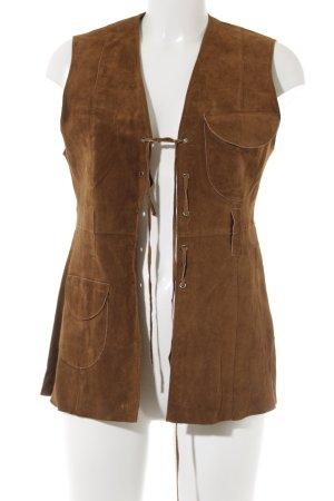 Zara Leather Vest cognac-coloured Boho look