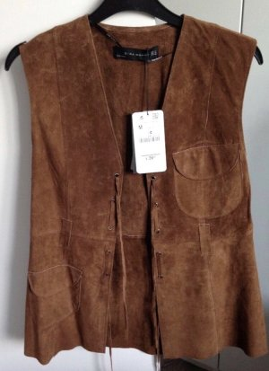 Zara Leather Vest multicolored suede
