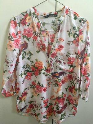Zara leichte, weiße Bluse mit Blumenmuster