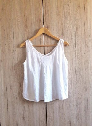 Zara Leinen Basic Casual Top weiß Gr. M