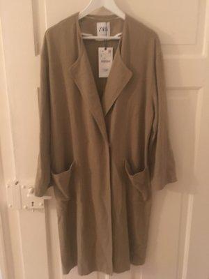 Zara Leinen Mantel in beige/grün
