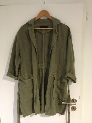 Zara Cappotto corto verde scuro Lino