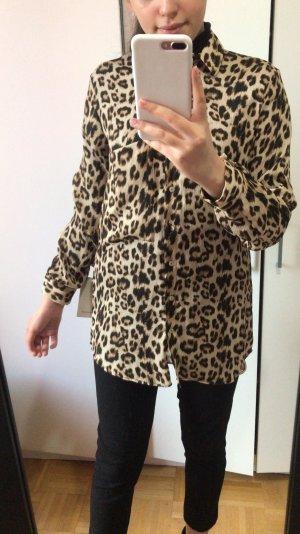 Zara Leopard Muster Hemd Oberteil lang Bluse mit Kragen neu S
