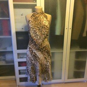 Zara Robe mi-longue chameau-brun noir