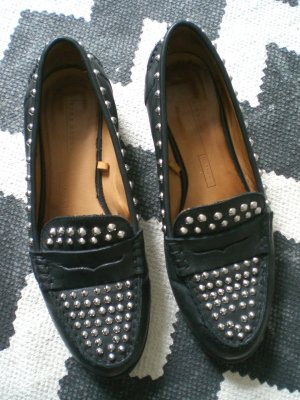 Zara Loafer 38 Echtleder Nieten studded Slipper Mokassins