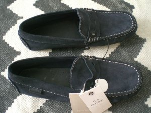 Zara Loafer Mokassins 39 Leder Dunkelblau Slipper Preppy College NEU!