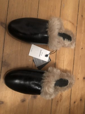 ZARA Loafer Mules Slipper Faux Fur Fell Leder Schwarz