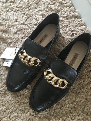 Zara Mocassins noir-doré cuir