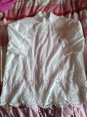 Zara Top extra-large blanc coton